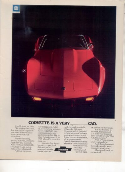 1975 CHEVY CORVETTE VINTAGE CAR AD RED