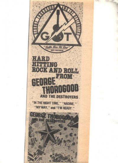 1979 GEORGE THOROGOOD BETTER THAN THE REST PROMO AD