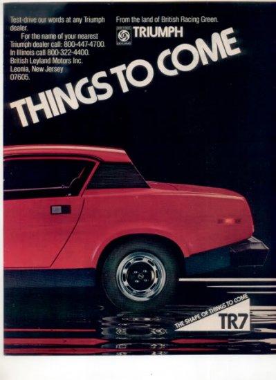1975 1976 TRIUMPH TR-7 TR7 VINTAGE CAR AD 2-PAGE RED