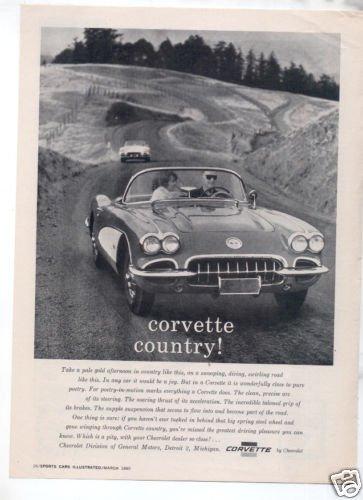 1960 CHEVY CORVETTE VINTAGE CAR AD CORVETTE COUNTRY