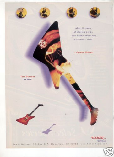 HAMER GUITAR AD TOM DUMONT NO DOUBT 1998