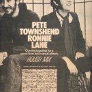 PETE TOWNSHEND RONNIE LANE ROUGH MIX PROMO AD 1977