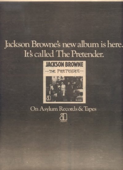 * 1976 JACKSON BROWN THE PRETENDER POSTER TYPE AD