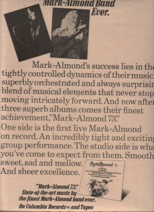 * 1973 MARK ALMOND BAND POSTER TYPE AD