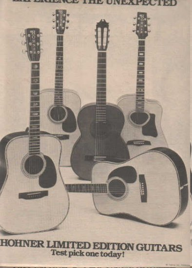 * 1976 HOHNER LIMITED EDITION GUITAR PROMO AD