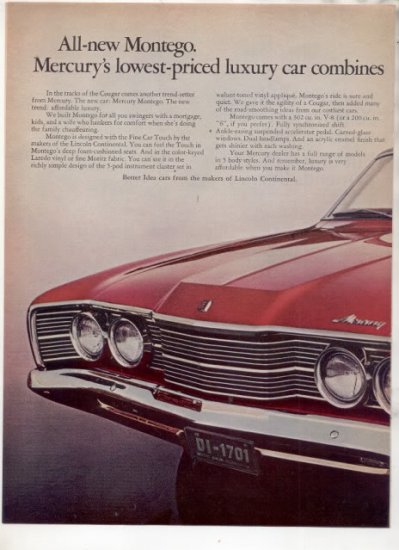 * 1968 MERCURY MONTEGO PHOTO PRINT AD 2-PAGE