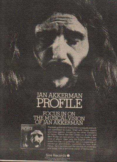 * 1973 JAN AKKERMAN POSTER TYPE PROMO AD