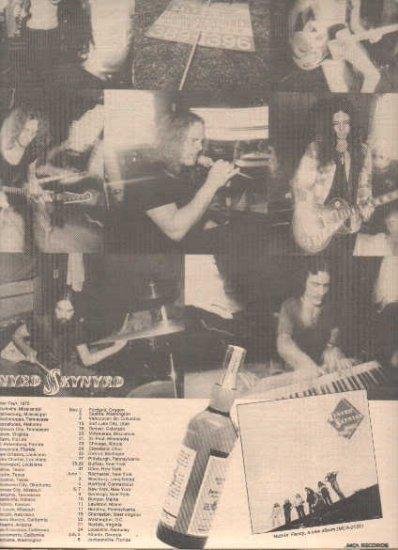 * 1975 LYNYRD SKYNYRD NUTHIN FANCY POSTER TOUR AD