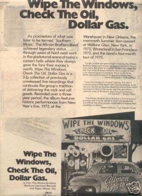ALLMAN BROTHERS BAND WIPE THE WINDOWS PROMO AD 1976