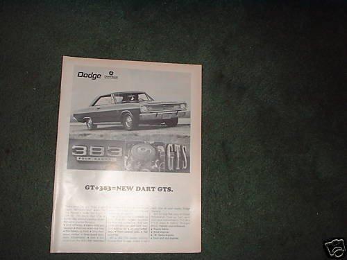 1967 1968 DODGE DART GT GTS VINTAGE CAR AD 383