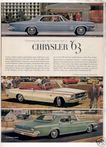 * 1963 CHRYSLER NEW YORKER  PHOTO PRINT AD