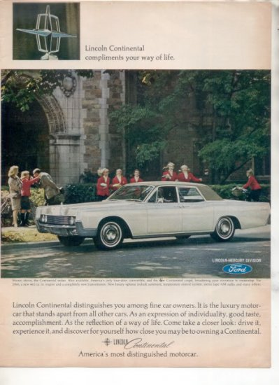 1966 LINCOLN CONTINENTAL VINTAGE CAR AD