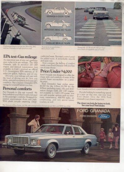 1976 FORD GRANADA VINTAGE CAR AD 2-PAGE