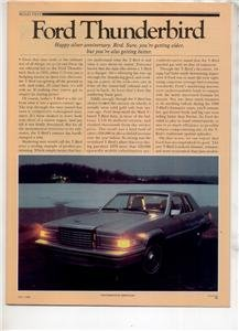 1980 FORD THUNDERBIRD ROAD TEST AD 5-PAGE
