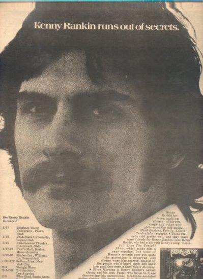 * 1975 KENNY RANKIN POSTER TYPE TOUR AD