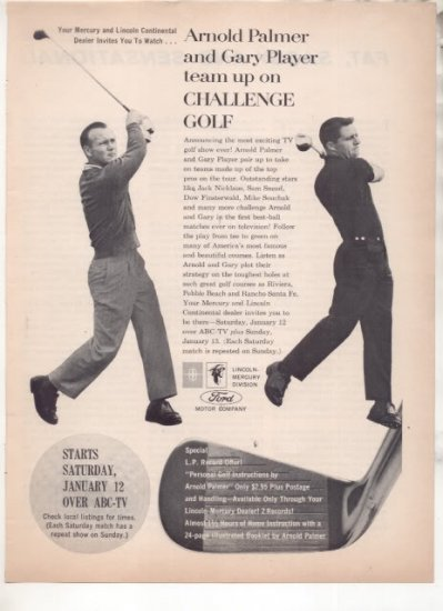 * 1963 ARNOLD PALMER GARY PLAYER GOLF CHALLENGE  AD