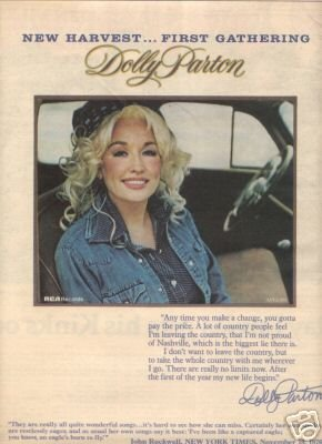 DOLLY PARTON NEW HARVEST FIRST GATHERING PROMO AD 1977