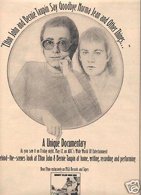 ELTON JOHN GOODBYE YELLOW BRICK ROAD PROMO AD 1974
