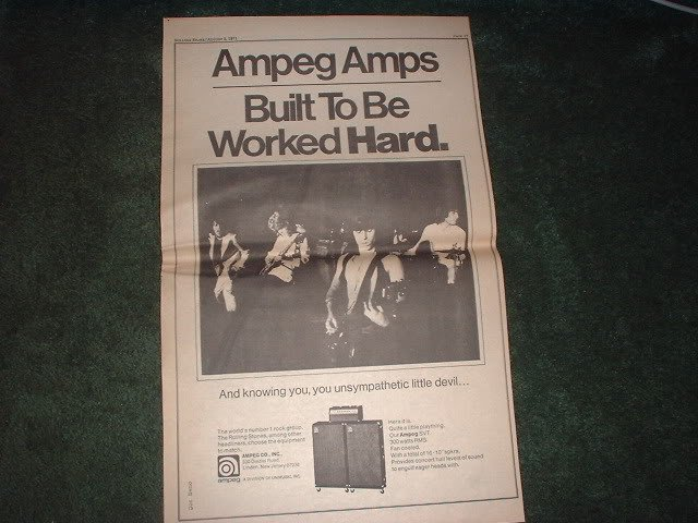 * 1971 THE ROLLING STONES AMPEG AMPS POSTER TYPE AD