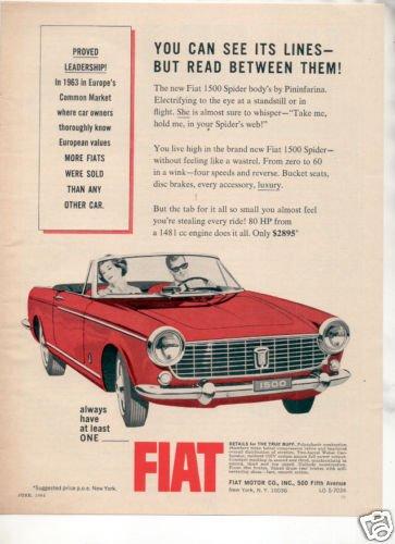 1964 1965 FIAT 1500 SPIDER VINTAGE CAR AD
