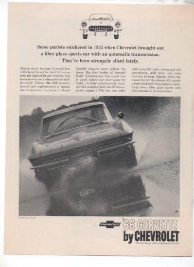 1966 CHEVY CORVETTE VINTAGE CAR AD