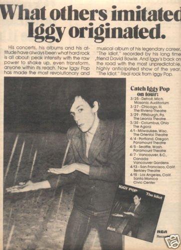 IGGY POP THE IDIOT POSTER TYPE TOUR AD 1977