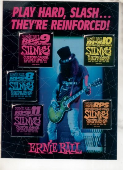 * 1993 SLASH GUNS N ROSES ERNIE BALL AD