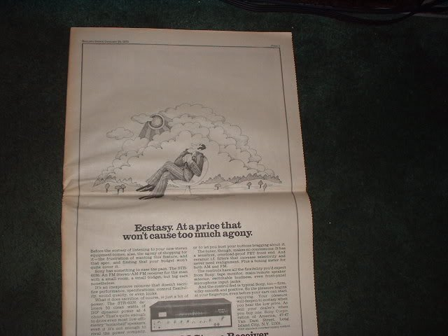 * 1972 SONY 6036 STEREO RECEIVER POSTER TYPE PROMO  AD