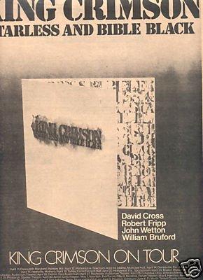 KING CRIMSON STARLESS AND BIBLE BLACK PROMO AD 1974