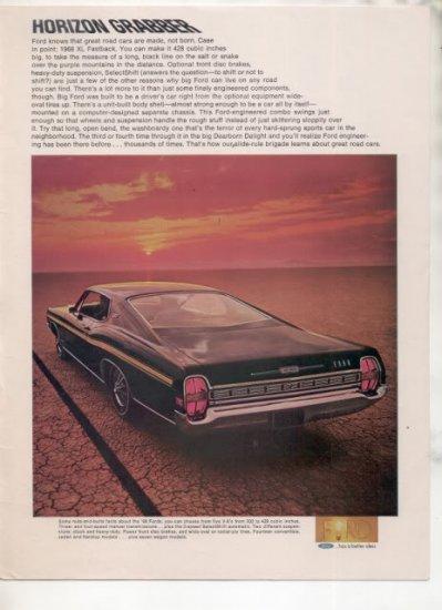 1968 FORD XL FASTBACK VINTAGE CAR AD