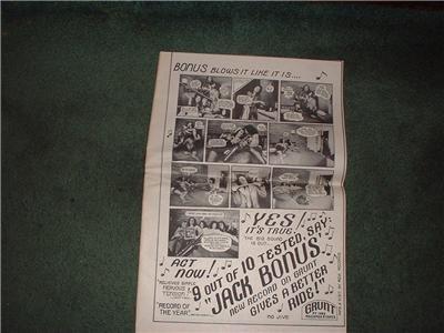 1972 JACK BONUS POSTER TYPE  AD