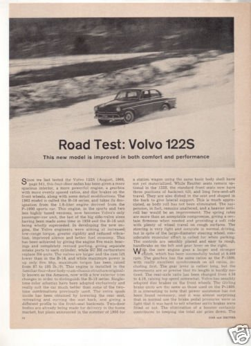 1962 VOLVO 122S 122 S ROAD TEST CAR AD
