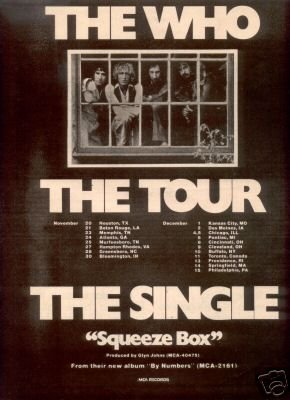 THE WHO TOUR FLYER SQUEEZE BOX PROMO AD 1975