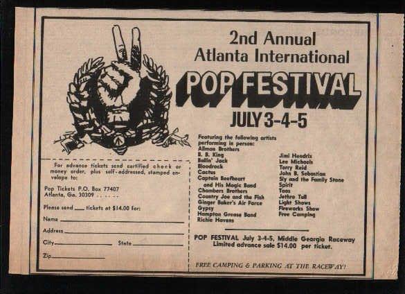 * ATLANTA INTERNATIONAL POP FESTIVAL HENDRIX HAVENS AD