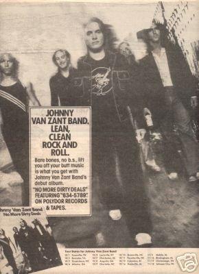 JOHNNY VAN ZANT BAND LYNYRD SKYNYRD PROMO AD 1980