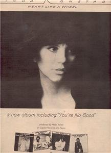 1974 LINDA RONSTADT HEART LIKE A WHEEL POSTER TYPE AD