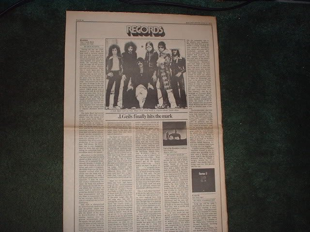 * 1973 J GEILS   ARTICLE AD WRITE UP-1 PAGE