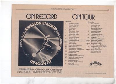 1974 JEFFERSON STARSHIP DRAGON FLY TOUR POSTER TYPE AD