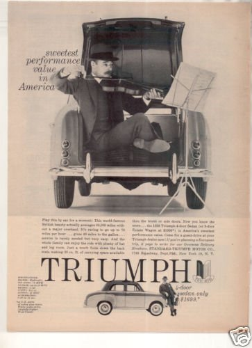 1958 TRIUMPH 4-DOOR SEDAN VINTAGE CAR AD