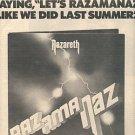 NAZARETH RAZAMANAZ POSTER TYPE PROMO AD 1973