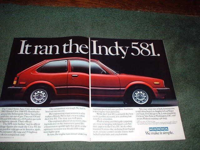 1983 HONDA CIVIC CAR AD 2-PAGE