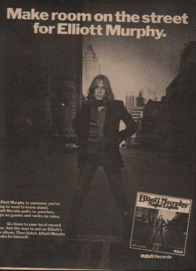 * 1976 ELLIOTT MURPHY NIGHT LIGHTS POSTER TYPE AD
