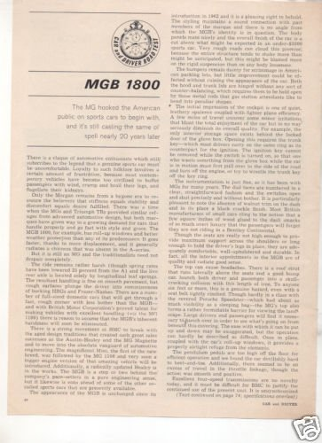 1964 MGB 1800 ROAD TEST CAR AD 4-PAGE