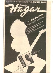 1980 SAMMY HAGAR THE DANGER ZONE POSTER TYPE AD