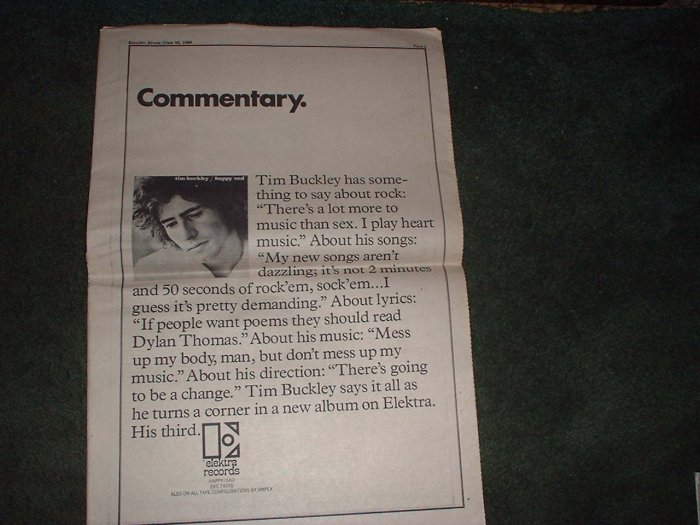 * 1969 TIM BUCKLEY POSTER TYPE PROMO AD