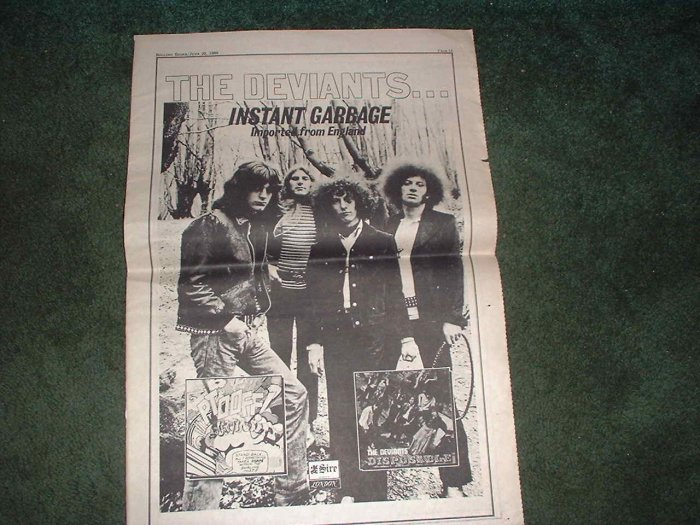 * 1969 THE DEVIANTS INSTANT GARBAGE POSTER TYPE AD