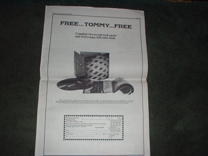 * 1969 THE WHO TOMMY POSTER TYPE PROMO AD