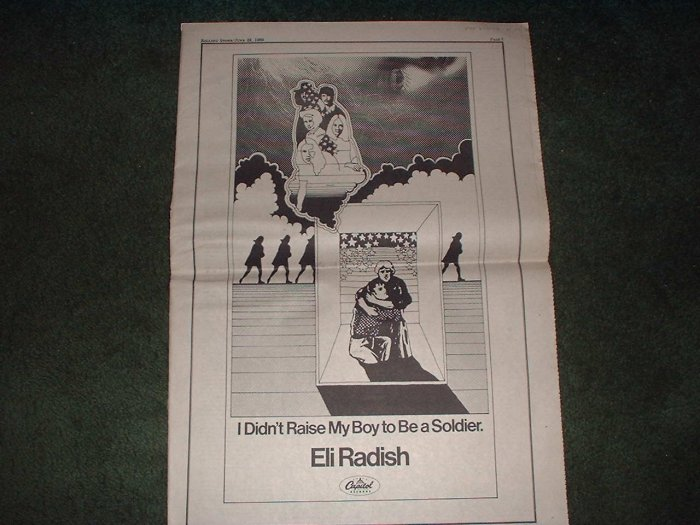 * 1969 ELI RADISH POSTER TYPE PROMO AD