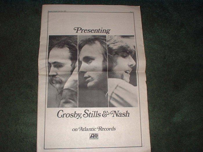 * 1969 CROSBY STILLS & NASH POSTER TYPE PROMO AD