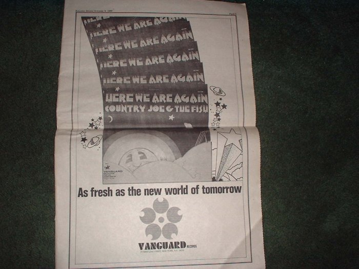 * 1969 COUNTRY JOE & THE FISH POSTER TYPE PROMO AD